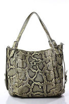 Tod's Tods Green White Python Leather Trimmed Tote Handbag