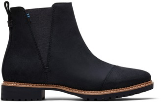 Toms Water Resistant Black Leather Women's Cleo Boots