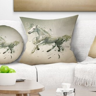 """White Horse East Urban Home in Motion on Brown Animal Pillow East Urban Home Size: 16"""" x 16"""", Product Type: Throw Pillow"""