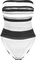 Norma Kamali Bishop striped strapless swimsuit