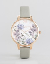 Olivia Burton Grey Parlour Leather Watch
