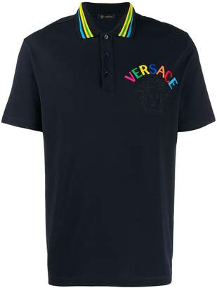 Versace embroidered logo polo T-shirt