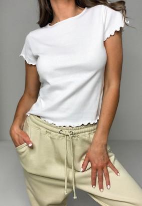 Missguided White Lettuce Hem Short Sleeve T Shirt