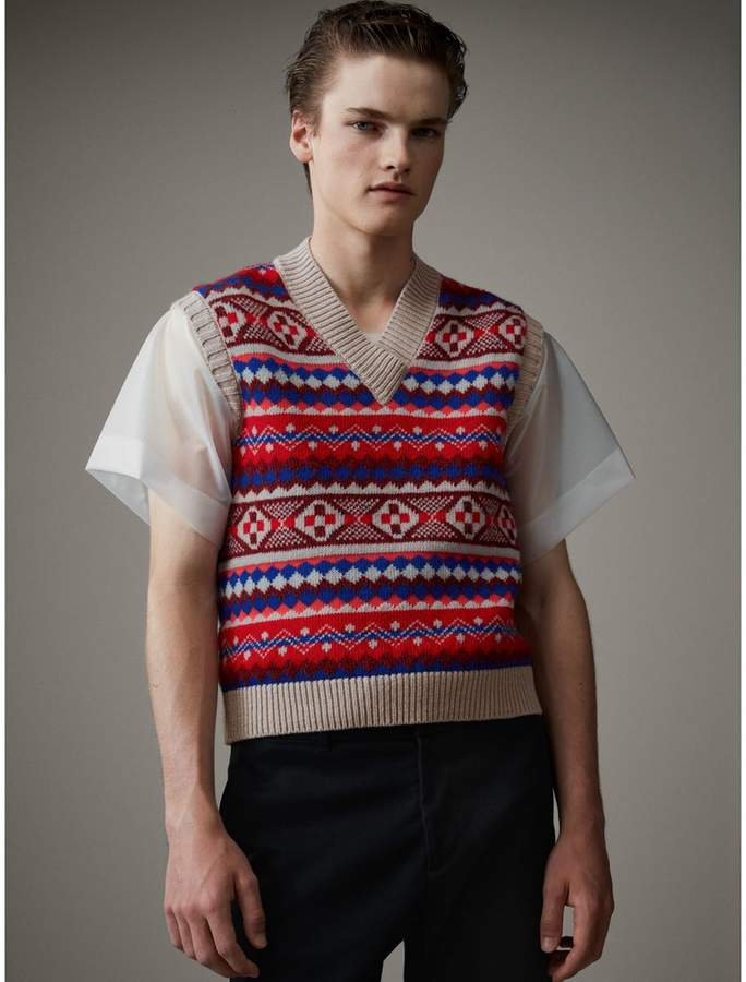 Burberry Fair Isle Wool Cropped Tank Top - ShopStyle Sweaters