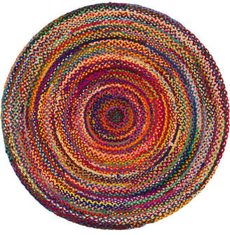 Bridgeport Home Roari Cotton Braids Rcb1 Multi 6' x 6' Round Area Rug
