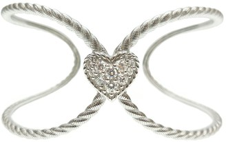 Judith Ripka Sterling Diamonique Heart Open Cuff