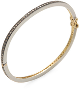 18K Yellow Gold, Sterling Silver & 1.50 Total Ct. Champagne Diamond Eternity Bangle Bracelet