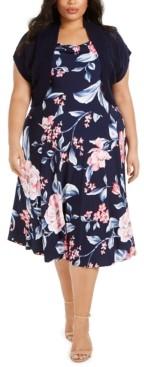 Robbie Bee Plus Size Floral-Print Knit-Bolero Dress