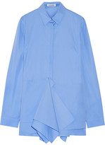 Jil Sander Ruffled Cotton-poplin Shirt - Blue