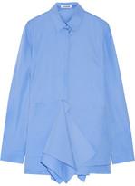 Jil Sander Ruffled Cotton-poplin Shirt - Blue