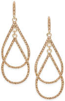 INC International Concepts Gold-Tone Pink Pavé Double Drop Earrings, Created for Macy's