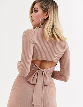 ASOS DESIGN co ord in structured rib with high neck and cut out back