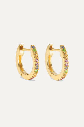 Stone And Strand STONE AND STRAND - Gold Sapphire Hoop Earrings - one size