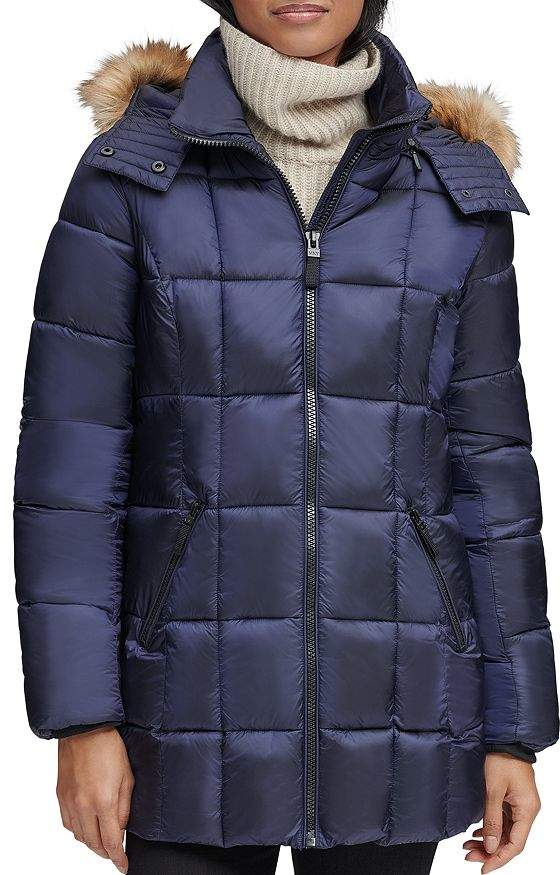 Andrew Marc Riverdale Faux Fur Trim Hooded Puffer Coat