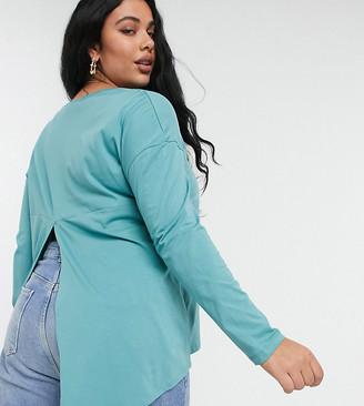 ASOS DESIGN Curve long sleeve t-shirt with split back in teal