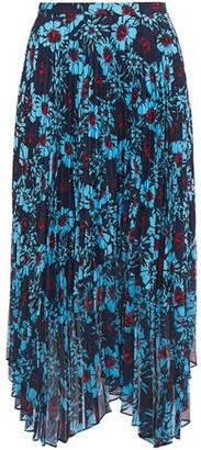 Markus Lupfer Lila Pleated Floral-print Crepe De Chine And Chiffon Midi Skirt