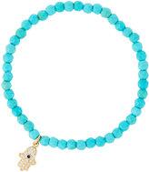 Tai Beaded Stretch Bracelet w/ Pave Hamsa Charm, Turquoise