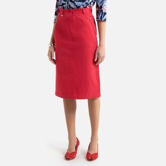 Anne Weyburn Stretch Cotton Satin Pencil Skirt