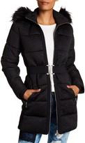 Desigual Detachable Hoodie With Faux Fur Bubble Coat