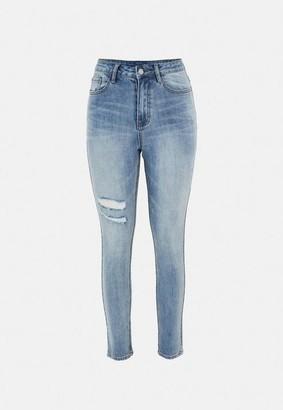 Missguided Blue Thigh Slash Skinny Jeans