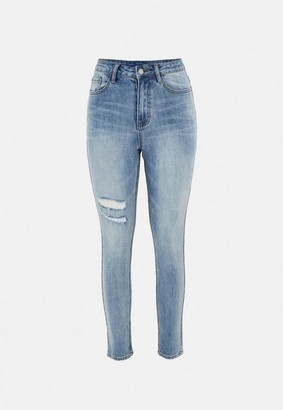 Missguided Petite Blue Thigh Slash Skinny Jeans