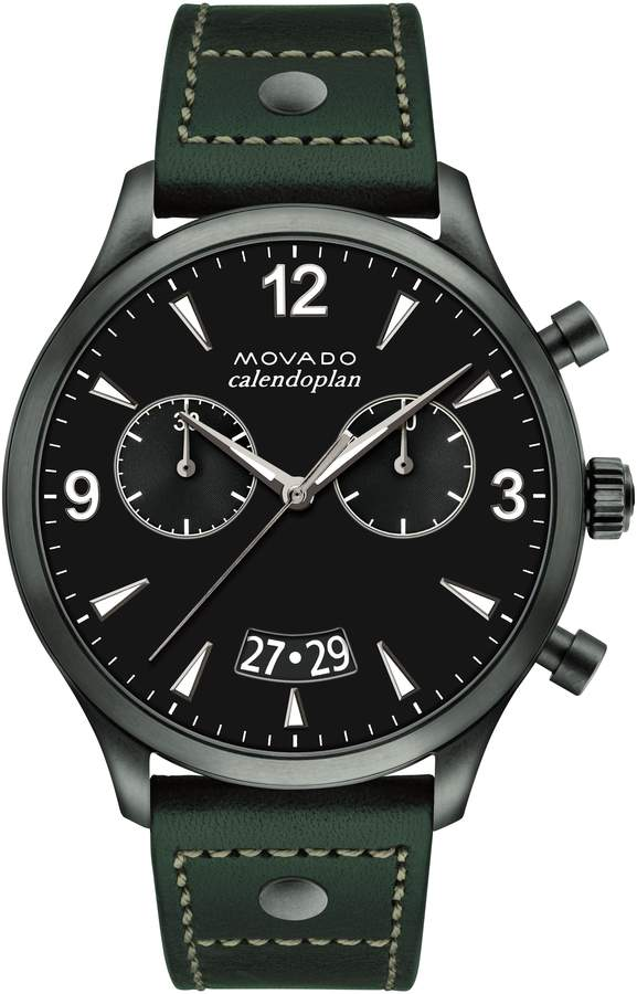 Movado Heritage Calendoplan Chronograph Leather Strap Watch, 45mm