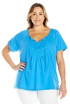Fresh Women's Plus-Size S/Keyhole Top with Lace Trim