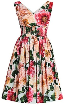 Dolce & Gabbana Floral Poplin Sleeveless Fit-&-Flare Dress