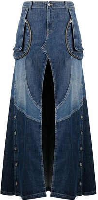 Diesel Two-Tone Full-Length Denim Skirt