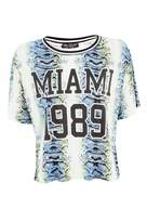 Select Fashion Fashion Womens Multi Miami 1989 Snake Print Tee - size 10