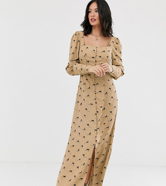 Glamorous milkmaid maxi dress in all over horse print-Brown