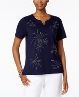 Alfred Dunner Lady Liberty Starburst Studded Top