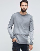 ONLY & SONS Crew Neck Sweatshirt in Faded Oil Wash with Panel