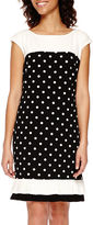 Studio 1 Colorblock Dot Shift Dress with Ruffle Hem