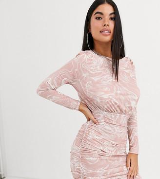 ASOS DESIGN Petite marble print long sleeve slinky ruched mini dress