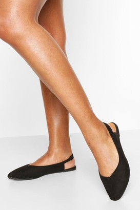 boohoo Wide Fit Pointed Sling Back Ballets