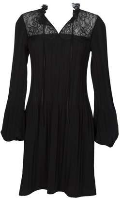 Maje Rockette Lace-Yoke Pleated Dress