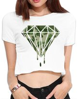 Agongda T-shirts Women's Diamond Military Camouflage Design Crop Top Navel T Shirt
