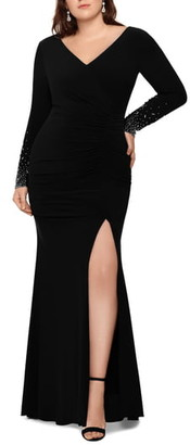 Xscape Evenings Embellished Long Sleeve Ruched Gown