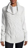 Neiman Marcus Portrait Cable-Knit Sweater, Cloud Mist