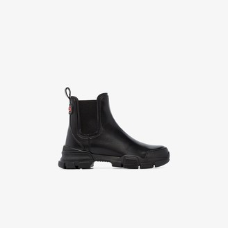 Gucci Black Chunky Leather Ankle Boots
