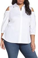 Foxcroft Plus Size Women's Tyra Cold Shoulder Shirt