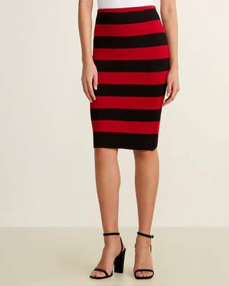 RVN Striped Tube Midi Skirt
