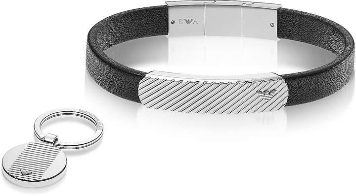 Emporio Armani Heritage Black Leather Bracelet and Silvertone Key Ring Set