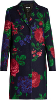 MSGM Floral-print single-breasted wool-blend coat