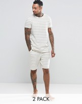 Asos Loungewear Stripe T -shirt & Short Set