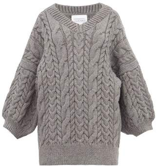 I Love Mr Mittens Cable Knit Wool Sweater - Womens - Dark Grey