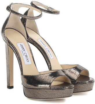 Jimmy Choo Pattie 130 leather plateau sandals