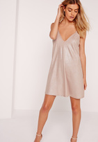 Missguided Strappy Ribbed Cami Swing Dress Nude