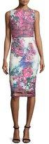 Badgley Mischka Sleeveless Floral Neoprene Striped Sheath Dress